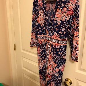 Faux Wrap border print dress